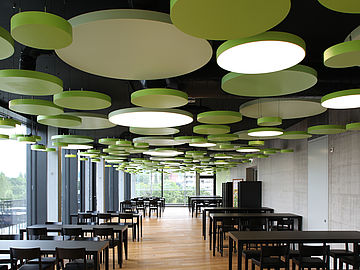 suspended ceilings-surface mount lighting-suspended luminaire-round metal ceiling elements-metal ceiling-durlum